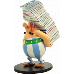 FIGURINE DE COLLECTION  OBELIX PILE D'ALBUMS