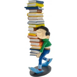 FIGURINE DE COLLECTION GASTON PORTANT UNE PILE DE LIVRES