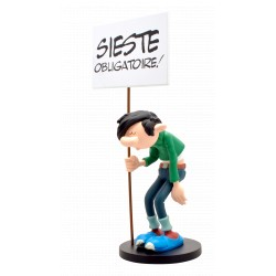 FIGURINE DE COLLECTION GASTON ET SA PANCARTE - EDITION LIMITEE ANNIVERSAIRE: SIESTE OBLIGATOIRE !